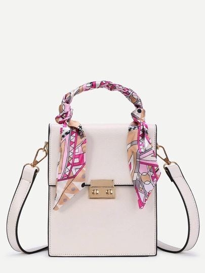 Scarf Decorated PU Crossbody Bag