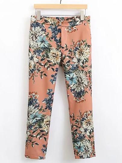 Pantaloni con stampa di fiore
