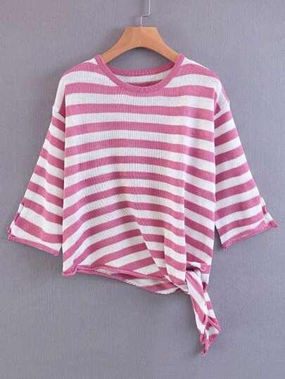 Suéter de rayas con ribete de nudo