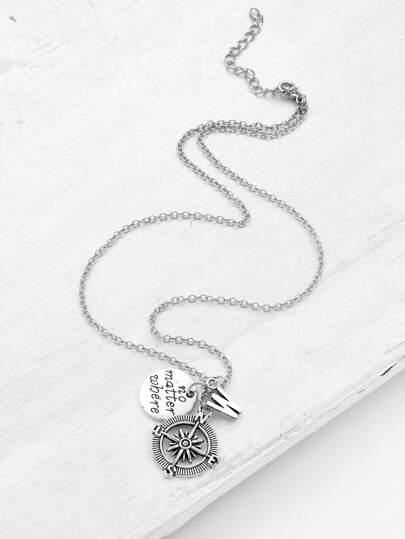 Compass & Letter Pendant Chain Necklace