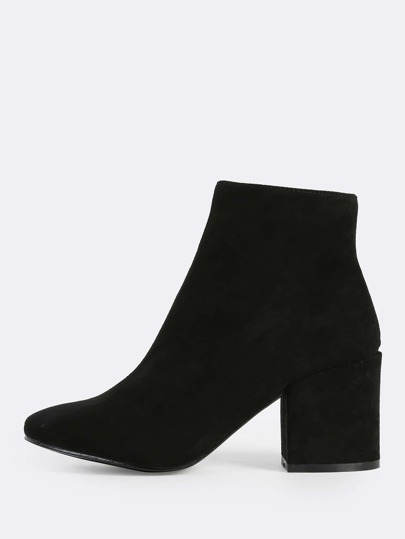 Faux Suede Chunky Heel Ankle Booties BLACK