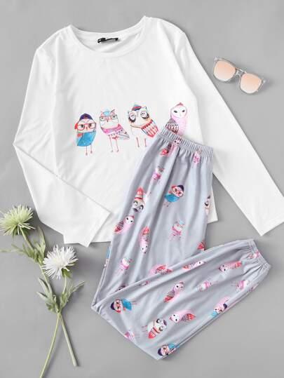 Owl Print Tee And Pants Pajama Set