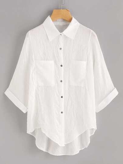 Dip Hem Cuffed Shirt