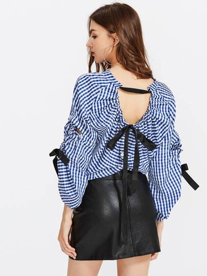 Tied Ribbon Detail Multiway Gingham Blouse