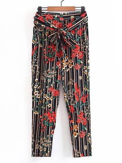 Pantalons imprimé fleuri à rayures avec nœud