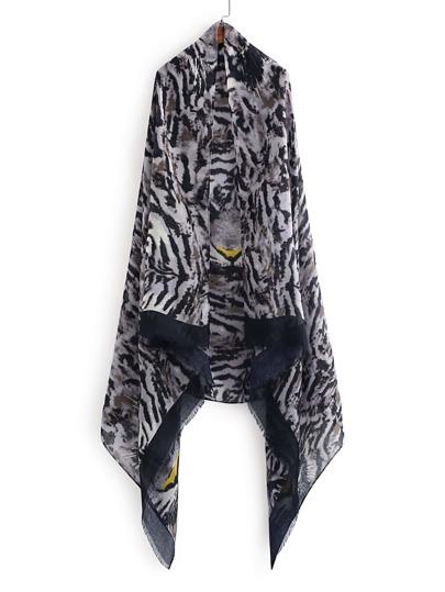 Écharpe découpée imprimée du tigre avec des franges