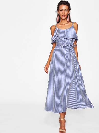 Flounce Layered Vertical Striped Dress With Belt