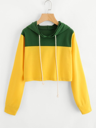 Color Block Crop Hoodie