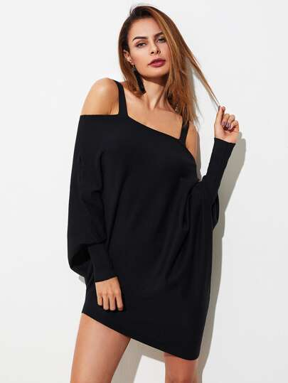 Cold Shoulder Gigot Sleeve Oversized Knitwear