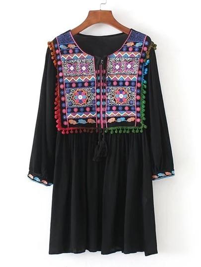 Tassel Tie Neck Pom Pom Trim Embroidery Dress