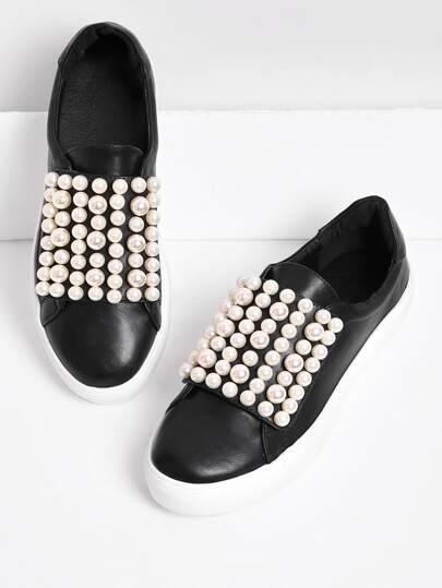 Scarpe da ginnastica con perle sintetiche
