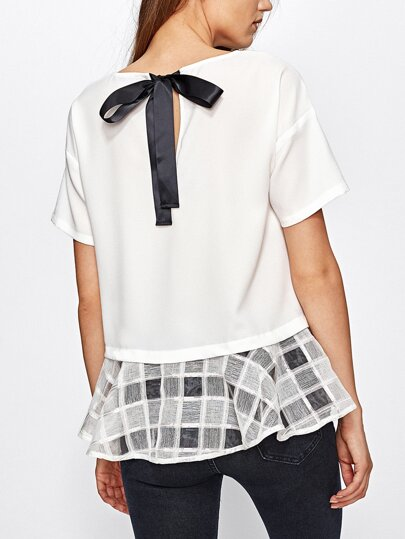 Bow Back Checkered Mesh Trim Top
