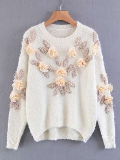 Flower Applique High Low Sweater