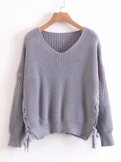 Lace Up Side Drop Shoulder Sweater