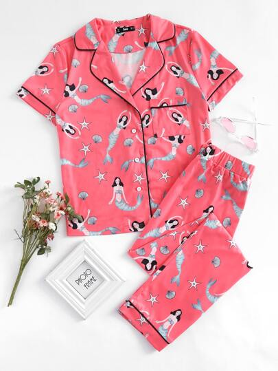 Tipping Detail Mermaid Print Shirt And Pants Pajama Set