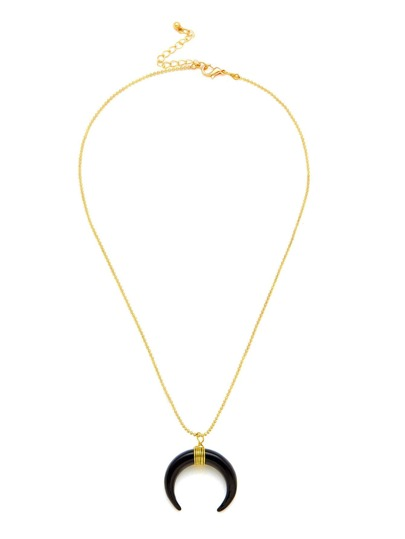 Contrast Moon Pendant Chain Necklace