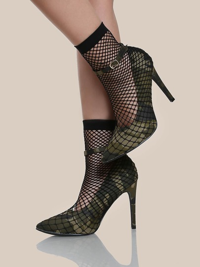 Point Toe Fishnet Sock Heels CAMO