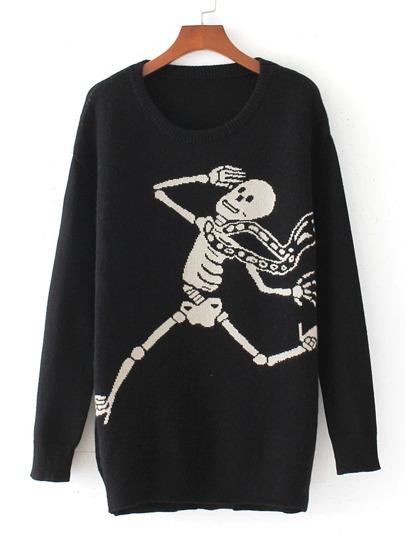 Skeleton Pattern Drop Shoulder Pullover Sweater