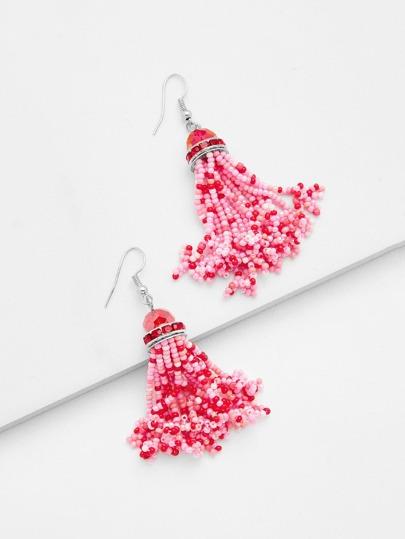Mini Beaded Design Tassel Shaped Earrings