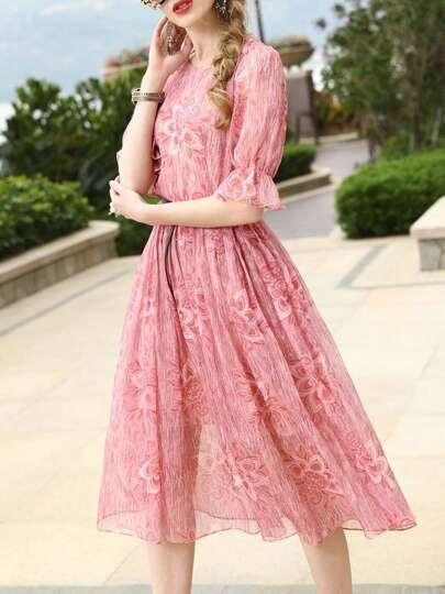 Bell Sleeve Floral A-Line Dress