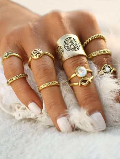 Embellished Tribal Carved Rings Set