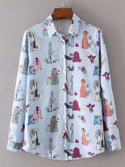 Cartoon Print Single Breasted Blouse