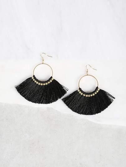 Coiled Tassel Earrings BLACK