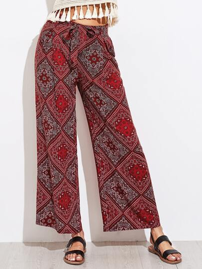 Paisley Print Self Tie Wide Leg Pants