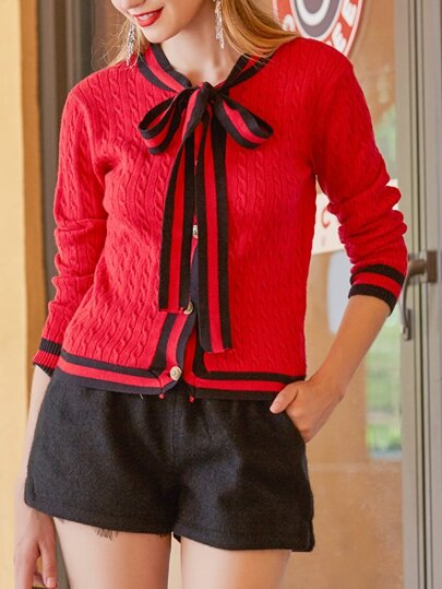 Bowknot Neck Color Block Sweater