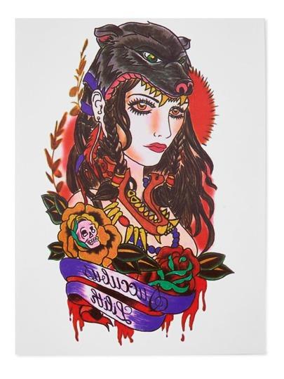 Autocollant de tatouage de beauté et de loup