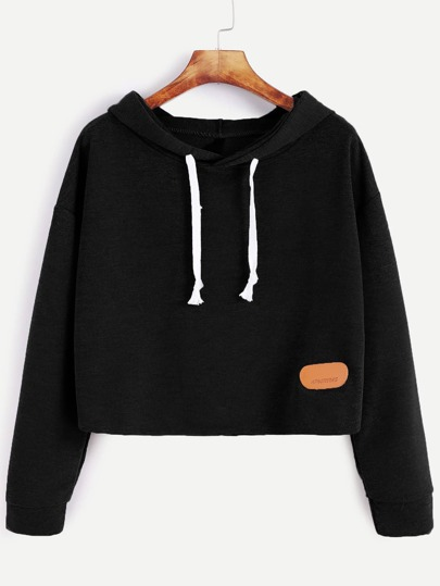 Drop Shoulder Crop Hoodie With Patch