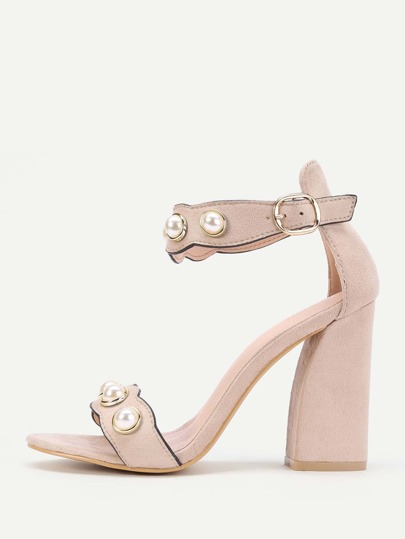 Faux Pearl Decor Ankle Strap Sandals