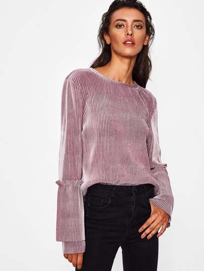 Frill Detail Tiered Bell Sleeve Striped Velvet Top