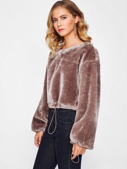 Drawstring Cuff And Hem Faux Fur Crop Sweatshirt