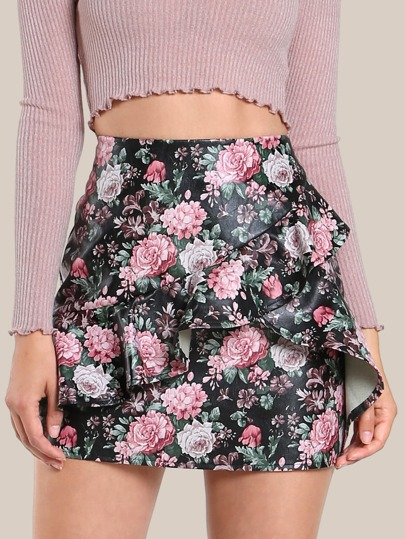 Overlap Flounce Trim Faux Leather Skirt