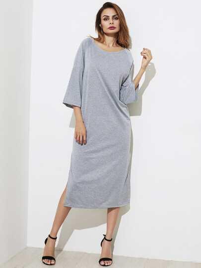 Split Side Fluted Sleeve Dress