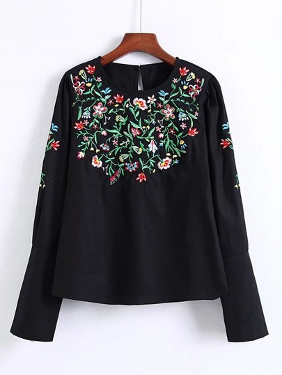 Embroidered Flower Zipper Sleeve Blouse