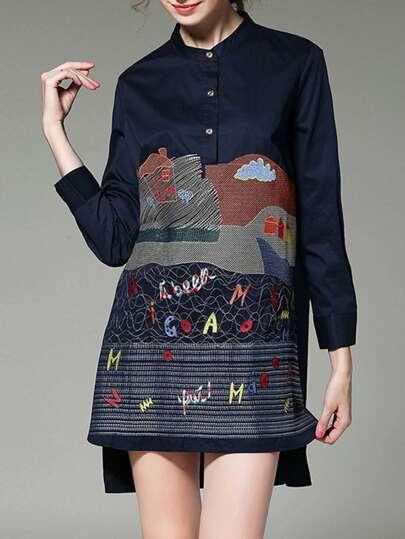 Embroidered Dip Hem Shirt Dress