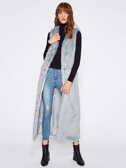 Cappotto lungo di pelliccia ecologica