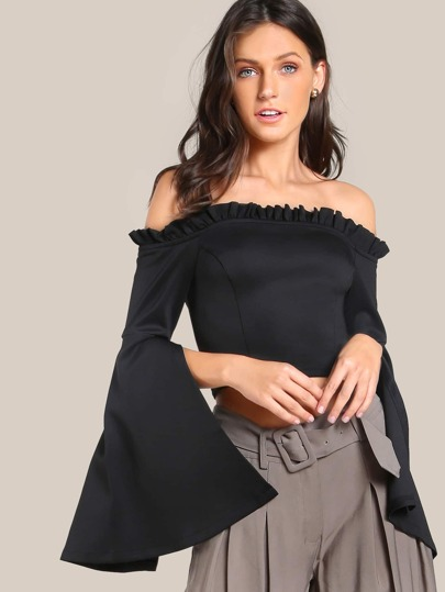 Off Shoulder Trumpet Sleeve Top BLACK