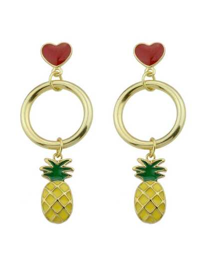 Pineapple Heart Shaped Exquisite Fashion Earrings