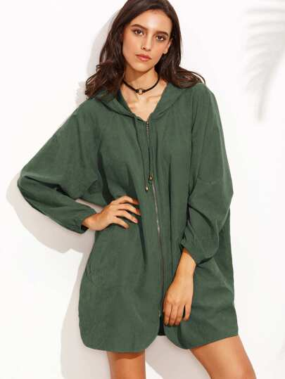 Raglan Sleeve Curved Hem Hooded Oversized Coat