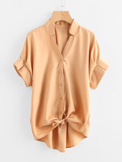 Bluse mit Falten, Knoten vorn und abfallendem Saum