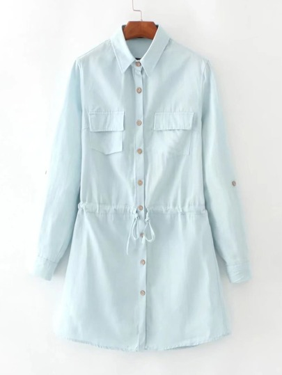 Roll-Up Sleeve Drawstring Waist Denim Shirt Dress
