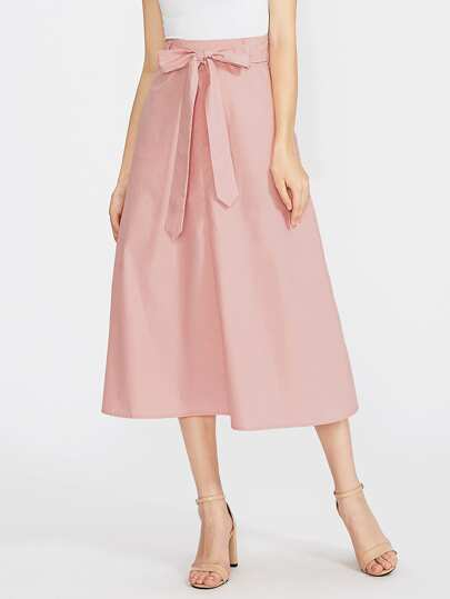 Bow Tie Waist Hidden Pocket Skirt