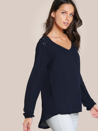 Grommet Long Sleeve Mesh Top BLUE