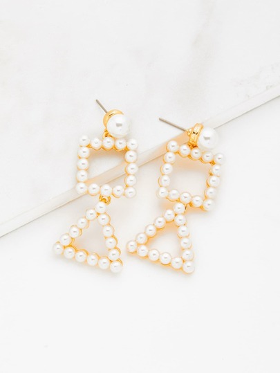 Faux Pearl Decorated Geometric Drop Earrings