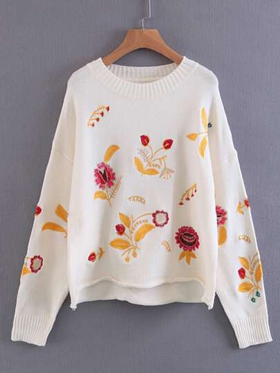 Embroidery Design Rolled Hem Knitwear