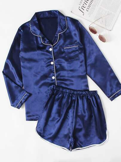 Contrast Piping Satin Pajama Set