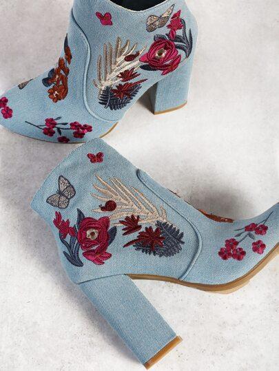 Floral Embroidered Zip Up Heel Booties DENIM